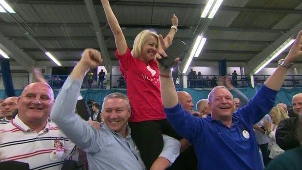 Campaigners in Sunderland celebrate the 2016 EU referendum result