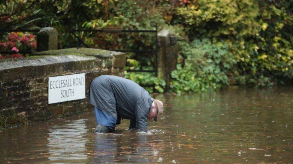 Man in flooded Sheffield street