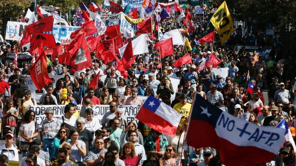Demonstrators take part in a protest against national pension system in Valparaiso, Chile, March 26