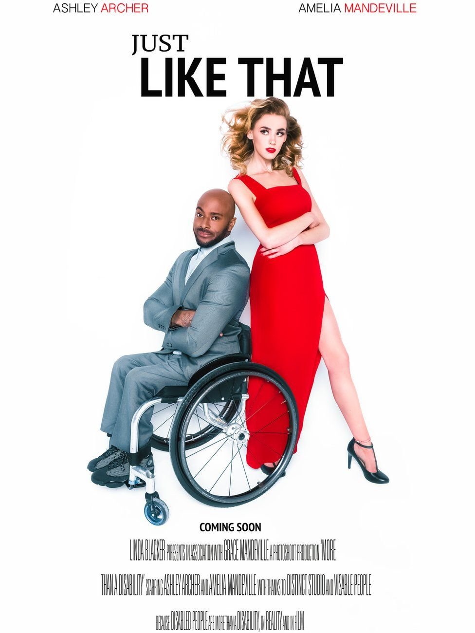 Ashley Archer and Amelia Mandeville pose for a rom-com film poster with Ashley in a wheelchair
