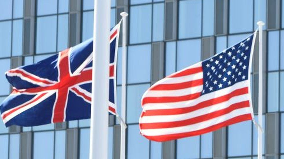 Union Jack and US flags
