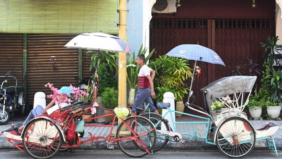 Empty rickshaws in Penang, Malaysia