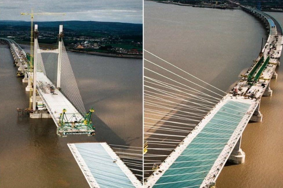 Aerial views of bridge being built