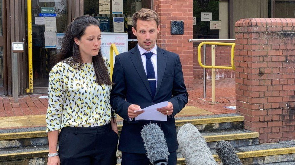 Sarah and Tom Richford outside court