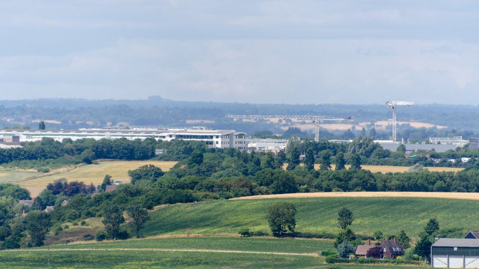 Gaydon Warwickshire England UK JLR Jaguar Land Rover engineering plant seen from a distance