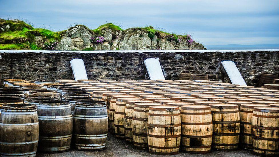 whisky barrels on Islay