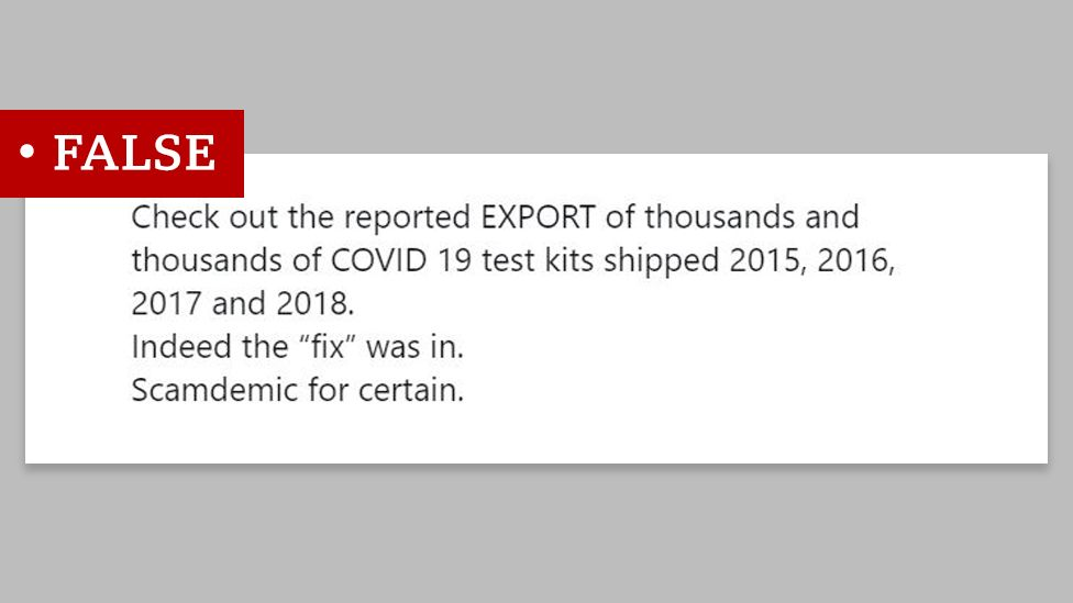 """Screenshot of a tweet that says: """"Check out the reported EXPORT of thousands and thousands of COVID 19 test kits shipped 2015, 2016, 2017 and 2018."""" We labelled """"false"""""""