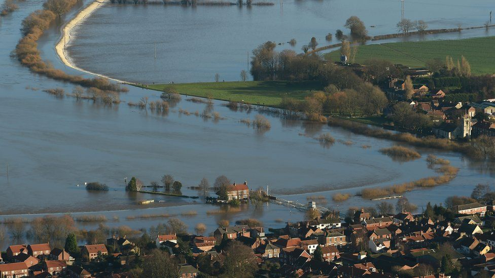 Floodwater around Cawood, North Yorkshire on 27 December 2015 after the River Ouse burst its banks