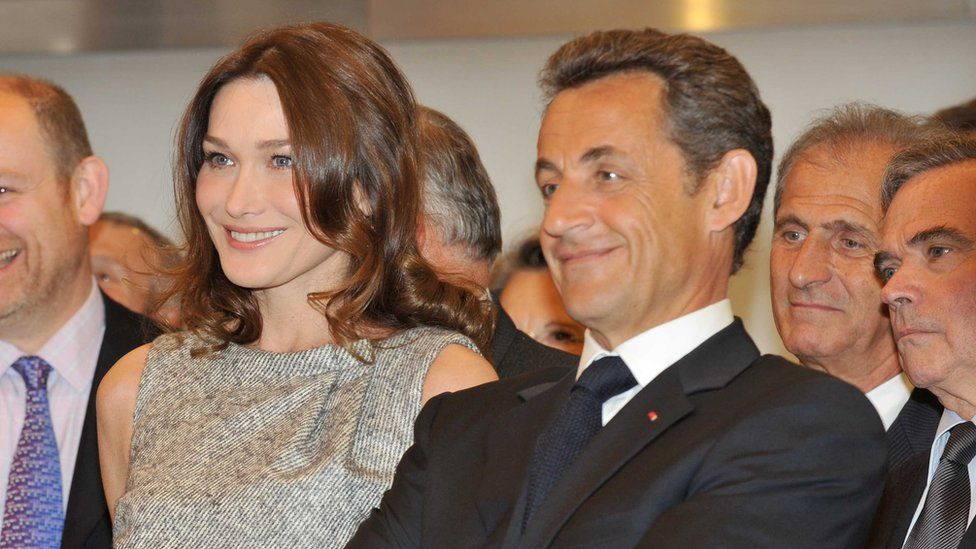 French President Nicolas Sarkozy and his wife Carla Bruni visiting BBC Broadcasting House in 2010