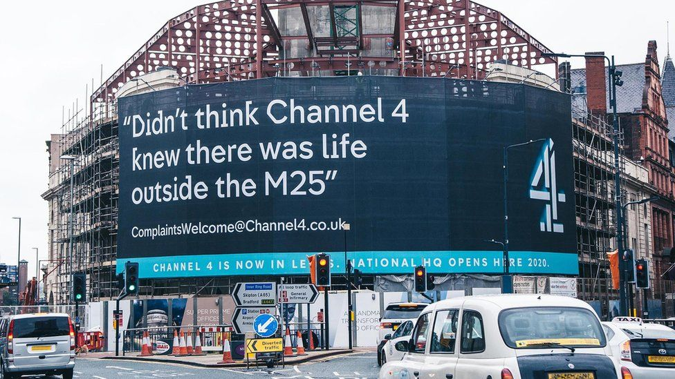 Banner outside Channel 4's new HQ in Leeds