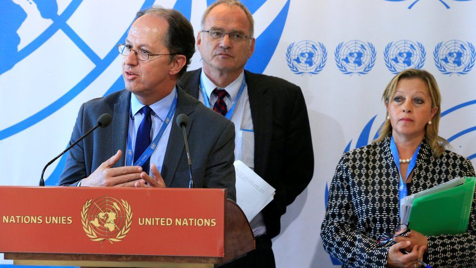 UN independent experts on Burundi (L-R) Pablo de Greiff, Christof Heyns and Maya Sahli-Fadel during presentation of final report in Geneva. 27 September 2016