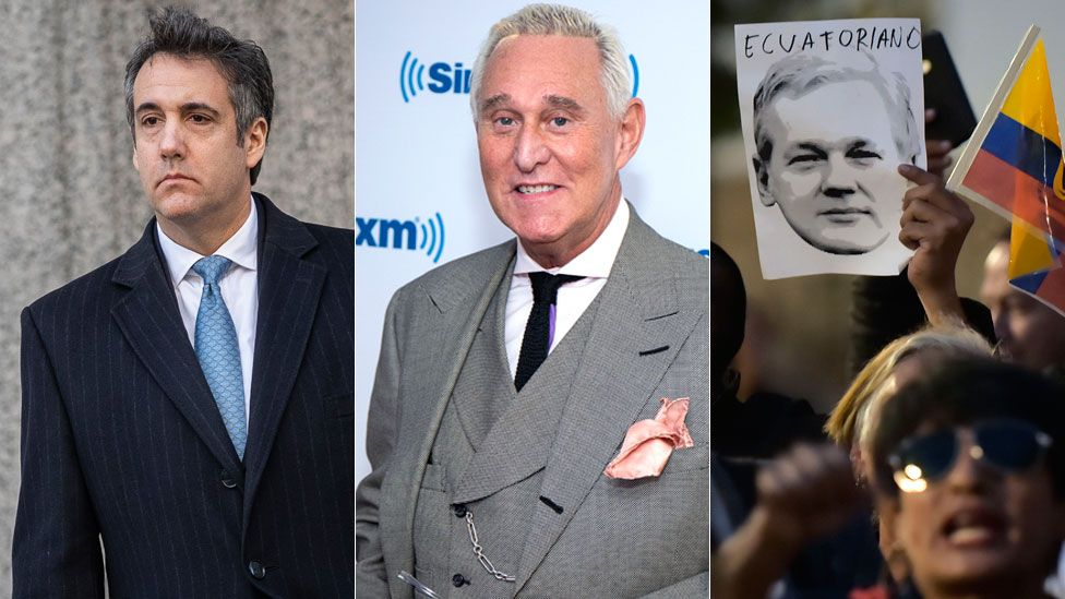 Cohen, Stone and picture of Assange