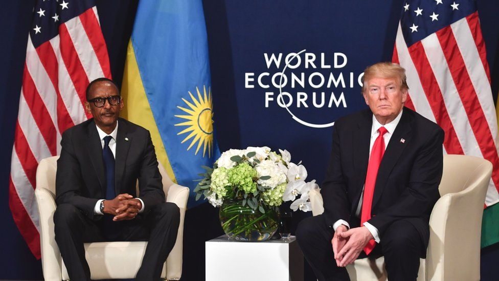 US President Donald Trump (R) and Rwanda's President Paul Kagame attend a bilateral meeting on the sidelines of the World Economic Forum (WEF) annual meeting on January 26, 2018