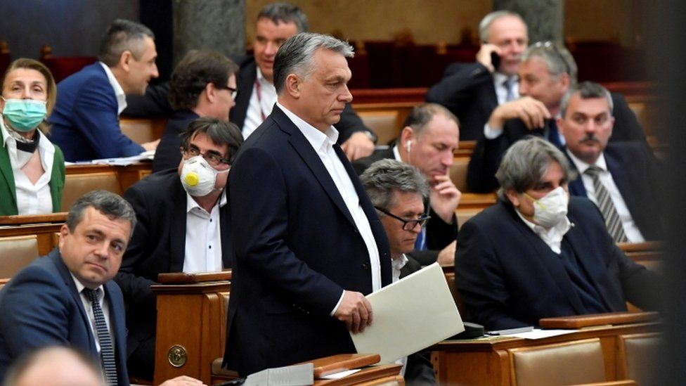 Mr Orban appeared in parliament on 20 March ahead of the vote the government special powers