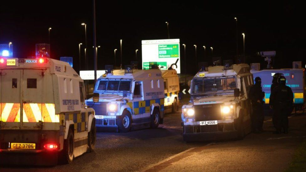 There was a police presence in Larne on Tuesday evening
