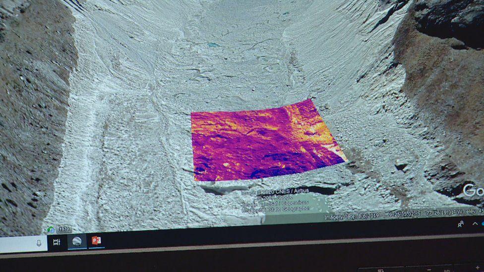 Thermal image of glacier