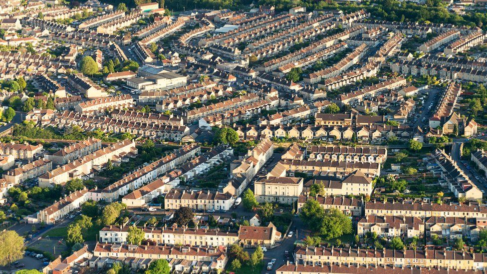 Rows of houses in Somerset, England