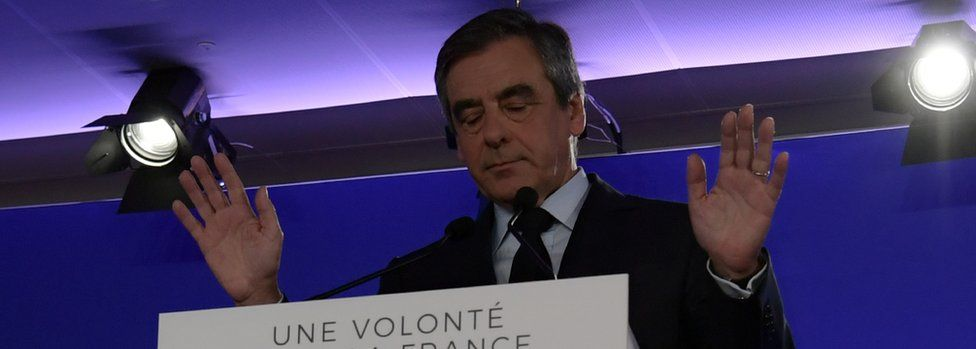 François Fillon speaks to supporters on 24 April
