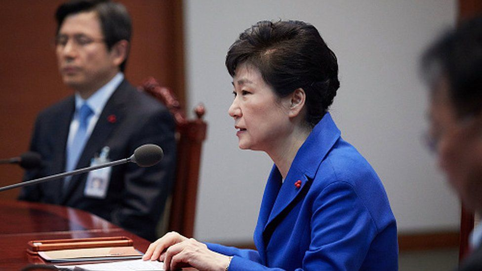 President Park Geun-hye attends an emergency cabinet meeting at the presidential office (09 December 2016)