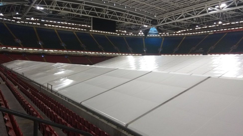The new field hospital covers the whole area of the Principality Stadium pitch