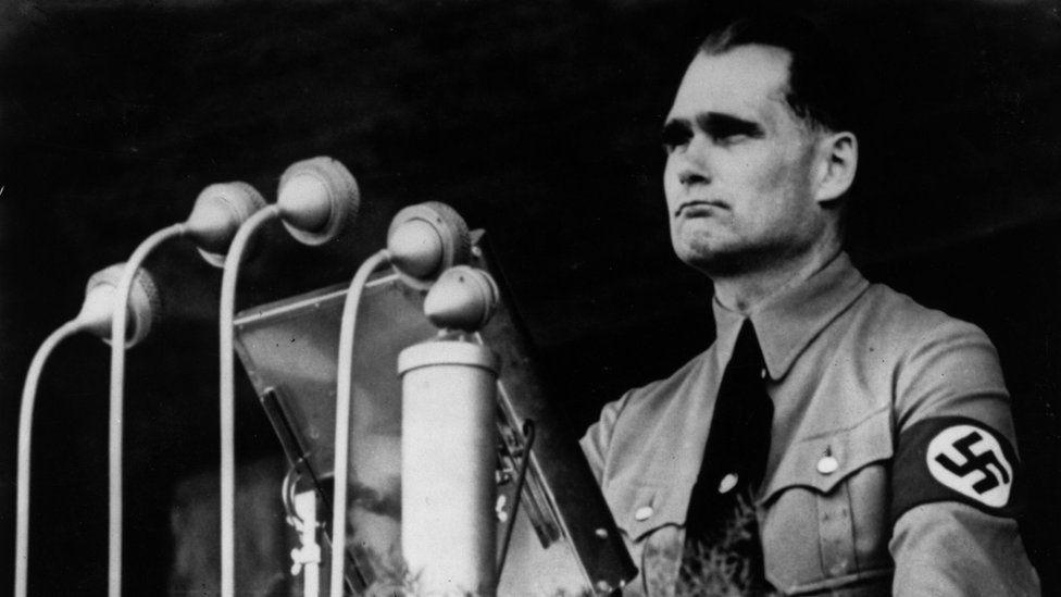 Rudolf Hess making a speech in 1937