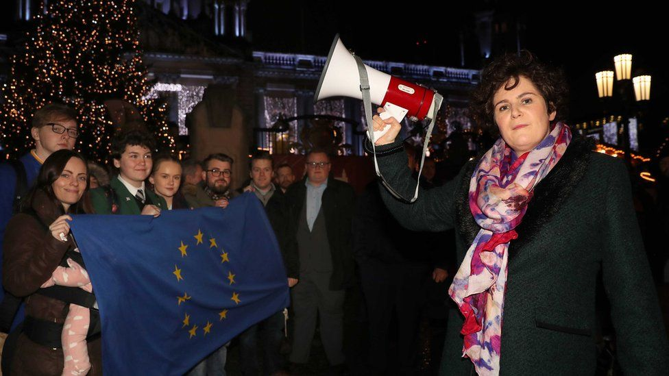 SDLP MLA Claire Hanna addressed the Rally for Europe at Belfast City Hall