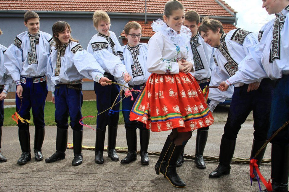 Easter Monday whipping in Vlcnov village, Czech Republic (file pic, 6 April 2015)