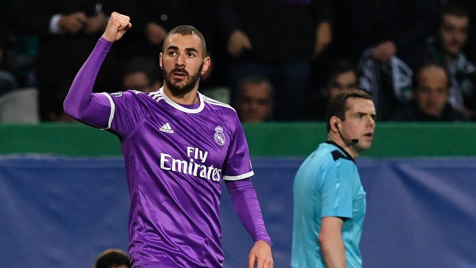 Douglas Ross and Real Madrid's French forward Karim Benzema