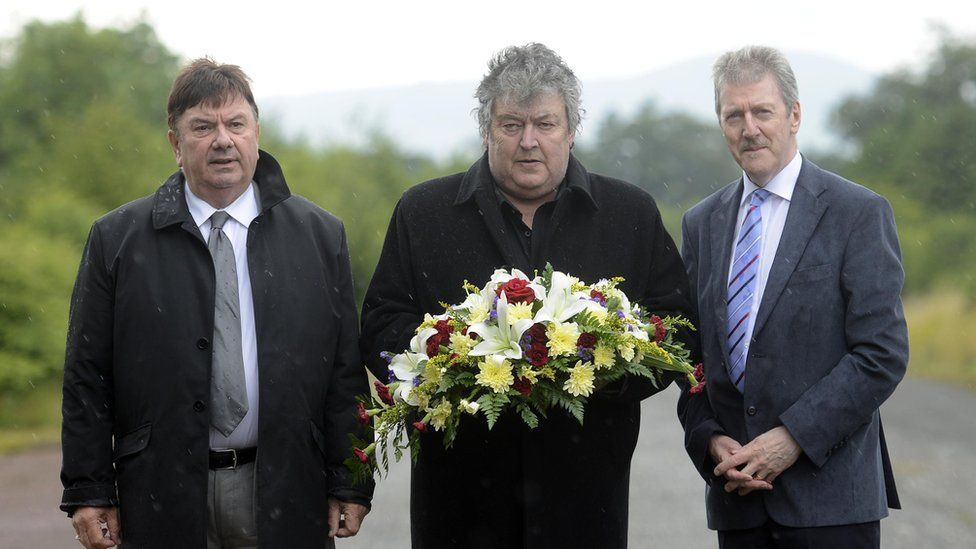 Band members Des Lee, Ray Millar and Steven Travers laid a wreath at the bomb site on the 40th anniversary in 2015