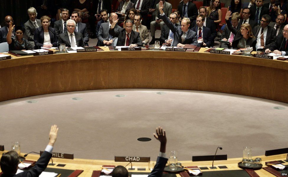 Members of the United Nations Security Council (UNSC) vote on a resolution in New York on 29 July