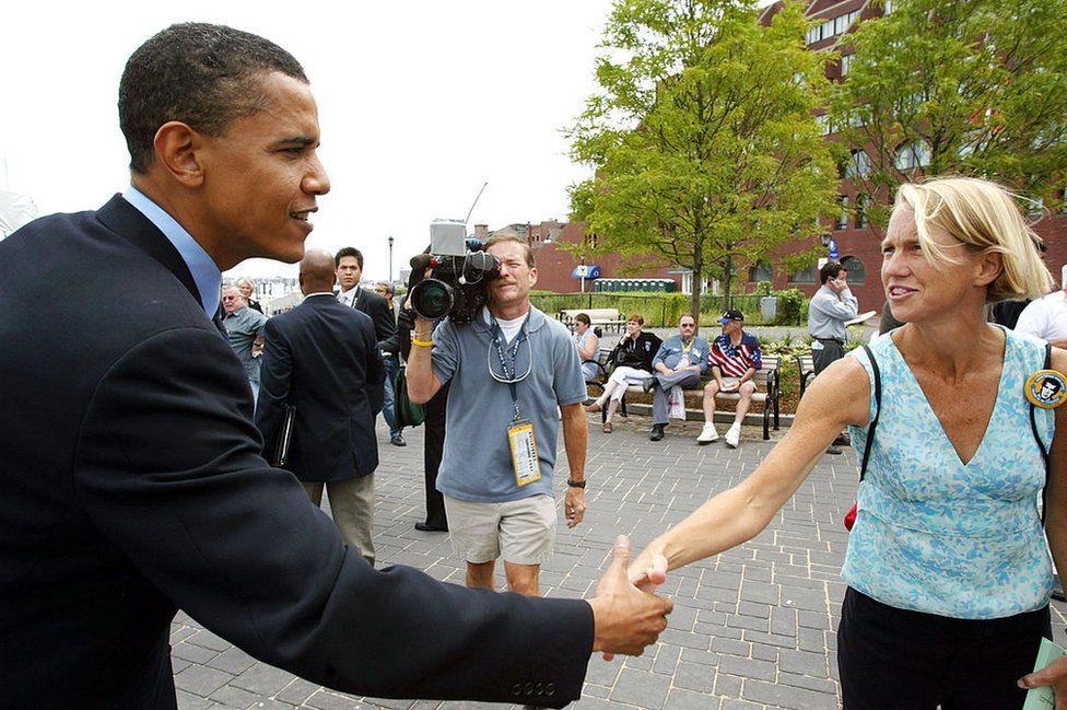 Senator Obama campaigning in 2004