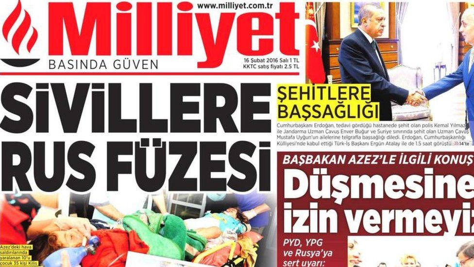 Front page of the Turkish daily Milliyet on 16 February 2016.