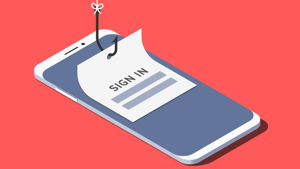 """A fake """"sign in"""" piece of paper attached to a fish hook is placed over the top of a smartphone screen in this photo illustration"""