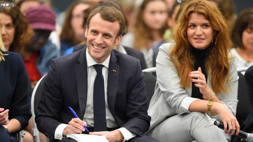 File pic of Marlène Schiappa with President Macron in 2019