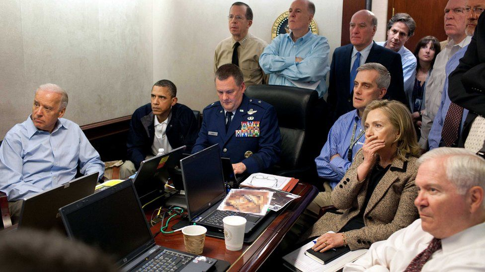 White House staff, including then Secretary of State Hillary Clinton and President Barack Obama, monitoring the raid that killed Osama Bin Laden in Pakistan in May 2011
