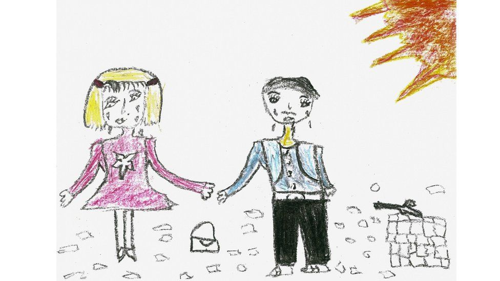 A drawing of a Syrian refugee boy showing a girl and a boy crying.