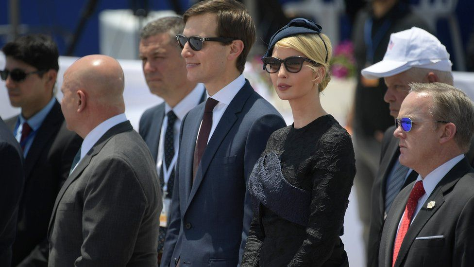 White House senior advisor Jared Kushner (C) and Ivanka Trump (2R), the daughter of US President take part in a welcome ceremony upon the US President's arrival at Ben Gurion International Airport in Tel Aviv on May 22, 2017, as part of his first trip overseas.