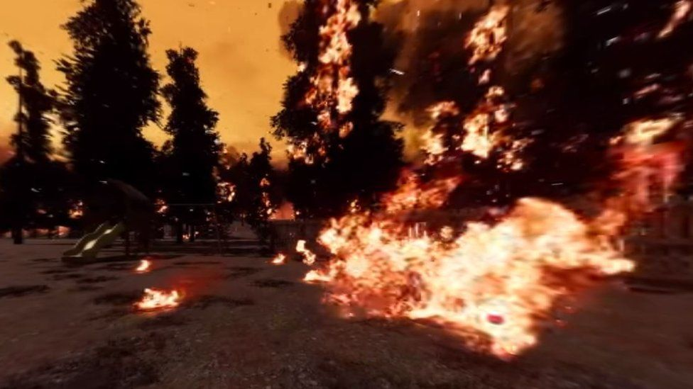 A scene from the simulation shows spotfires breaking out in front of a large blaze