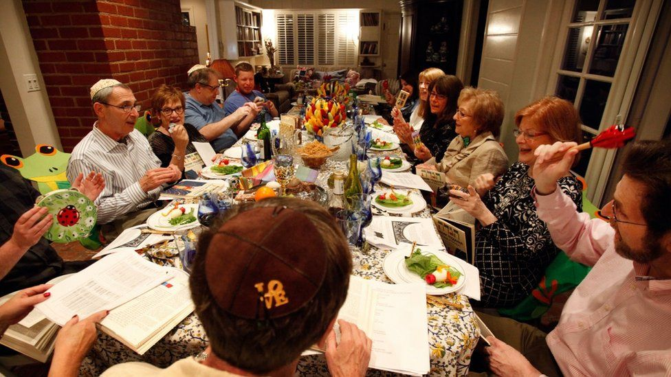 A Jewish family celebrating Passover with the ritual Seder meal