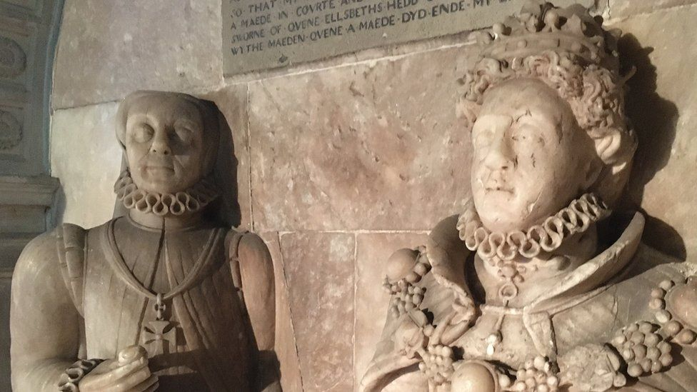 A monument to Blanche Parry and Elizabeth I which was commissioned by Parry before her death