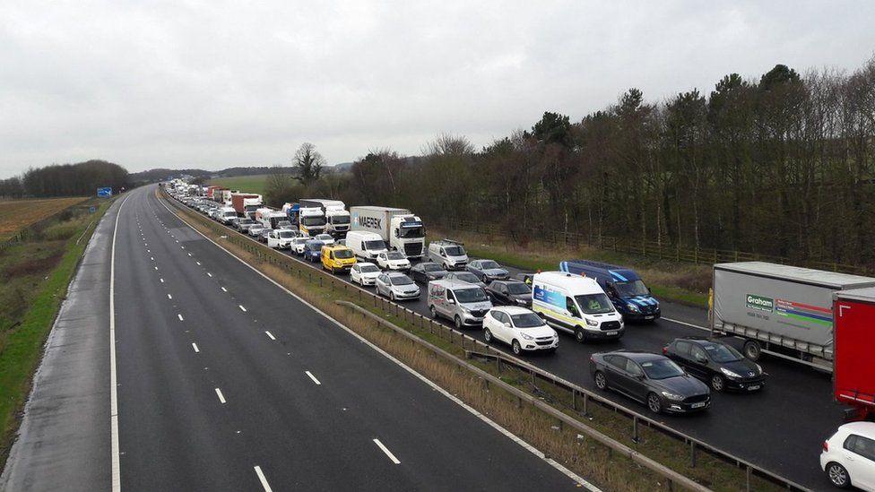 Traffic jam on M62 motorway