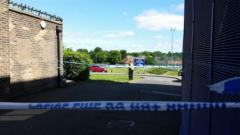 Scene next to Westgate Sports Centre