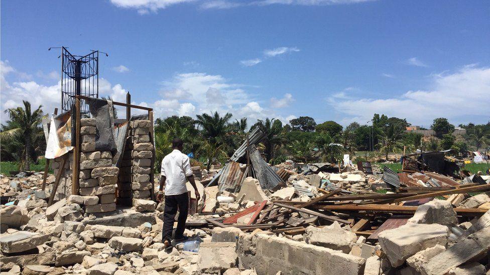 A demolition site in Dar es Salaam, Tanzania