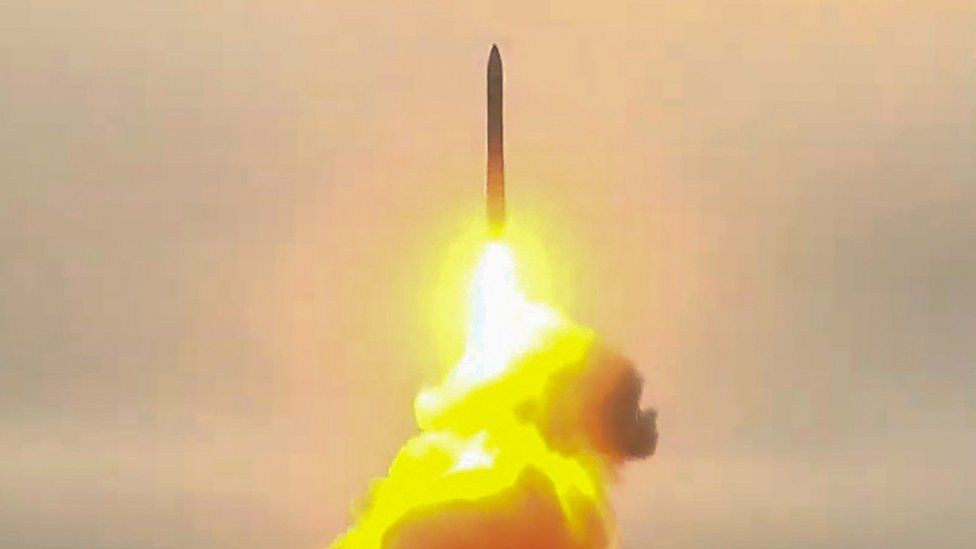 Pictured in this video screen grab is a Topol-M intercontinental ballistic missile test-launched from a missile silo at Plesetsk Cosmodrome