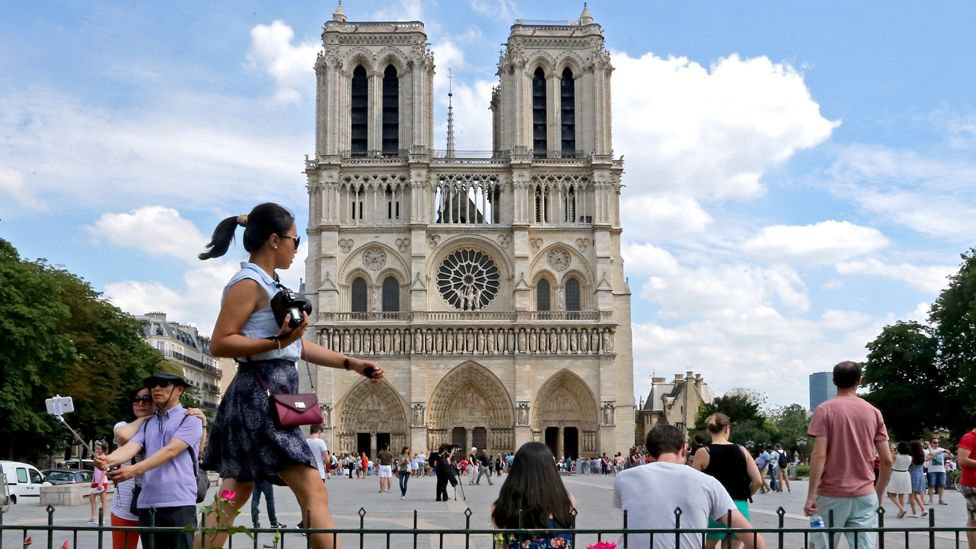 Tourists outside Notre-Dame
