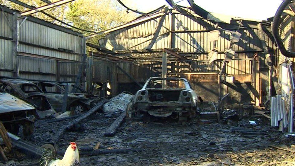 Inside the blaze hit barn