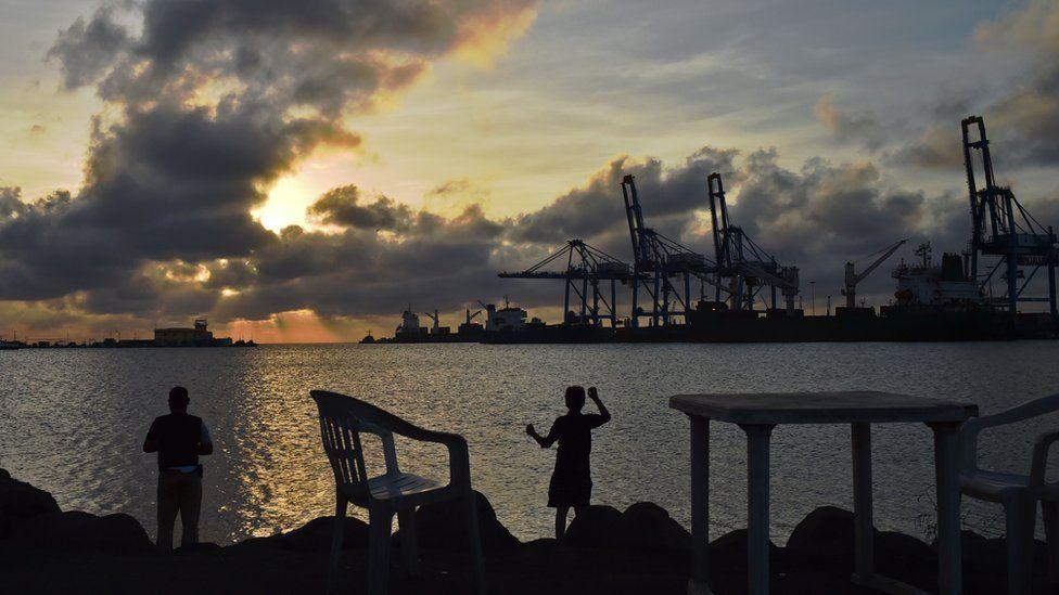 Djibouti port seen at sunset