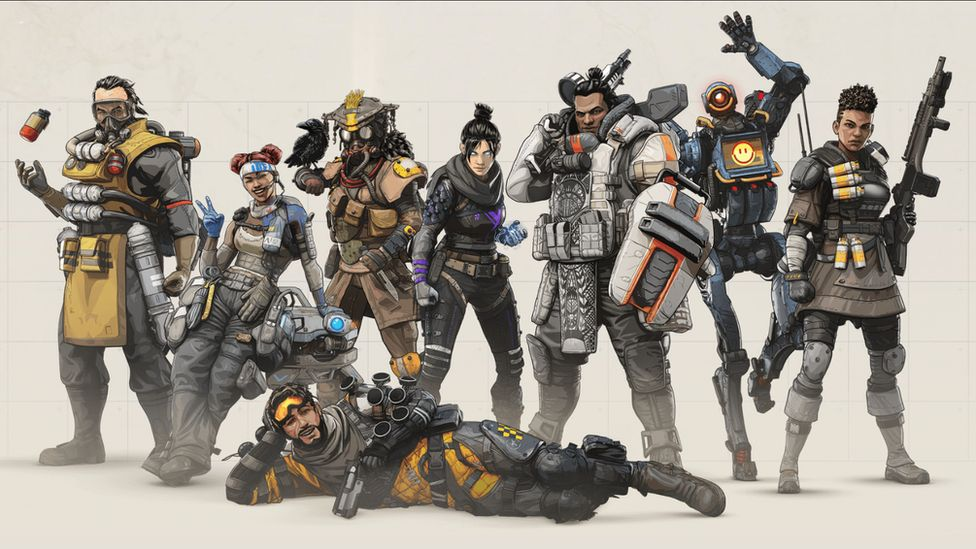 Apex Legend characters pose for a promo shot