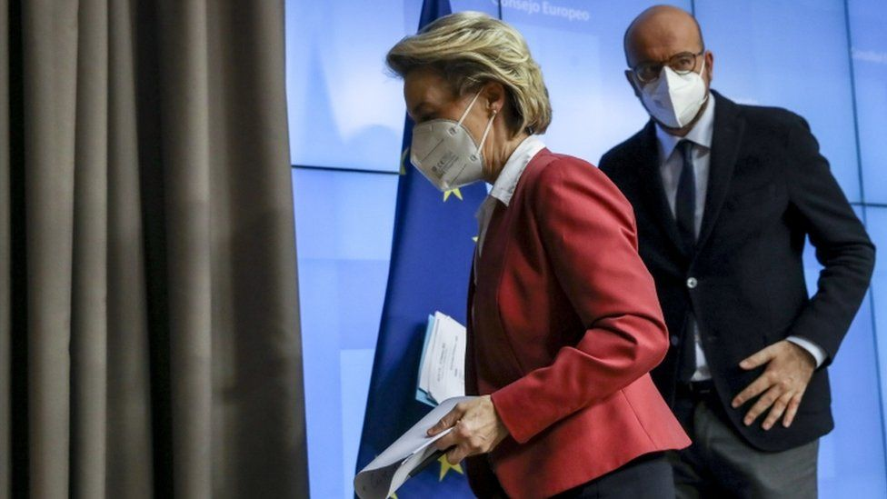 European Commission President Ursula von der Leyen (R) and European Council President Charles Michel (L) file pic