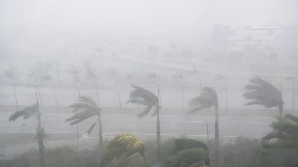 Heavy winds and rain from Hurricane Irma are seen in Miami, Florida, September 10, 2017.